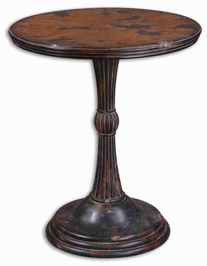 Breton Round Accent Table with Aged Oak and Mahogany Veneers Brand Uttermost