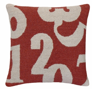 """Bright and Bold Numbers Red Gray Hooked Pillow 16x16"""" by 123 Creations"""