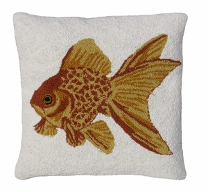 "Bright and Shining Goldfish Hooked Pillow 18x18"" by 123 Creations"