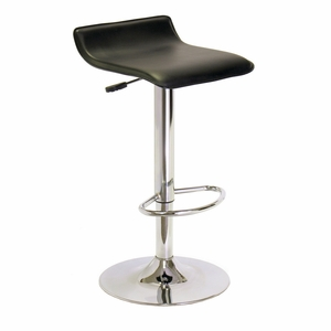 Winsome Wood Bright Black Faux Leather Swivel Stool with Footrest