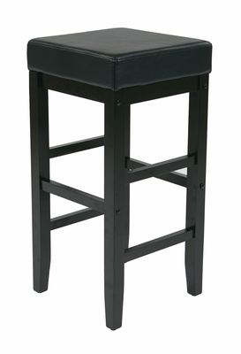 Bright Black Polished Wooden Metro Square Stool by Office Star
