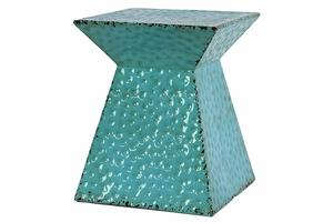 Bright Blue Hammered Extraordinary Metal Stool by Urban Trends Collection