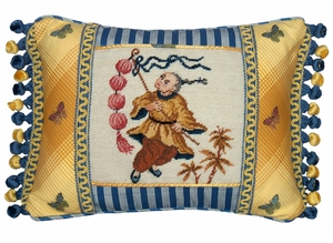 Bright Boy With Lantern Petit-Point Pillow by 123 Creations