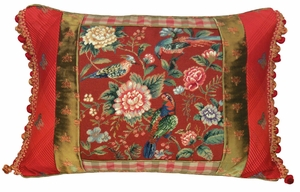 Bright Canton Garden - Red Petit Point Pillow by 123 Creations