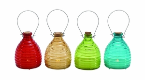 Bright Color Styled Glass Led Candle 4 Assorted by Woodland Import