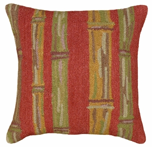 Bright Colored Fancy Bamboo Red Hooked Pillow by 123 Creations