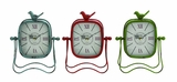 Bright Colored Metal Table Clock 3 Assorted by Woodland Import