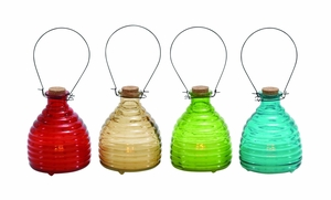 Bright Multicolored Glass Led Candle 4 Assorted by Woodland Import