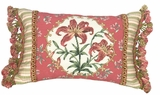 Bright Tiger Lily Pink Border Petit-Point Pillow by 123 Creations