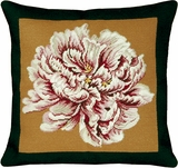 Brilliant Styled Peony - Black & Gold Needlepoint Pillow by 123 Creations