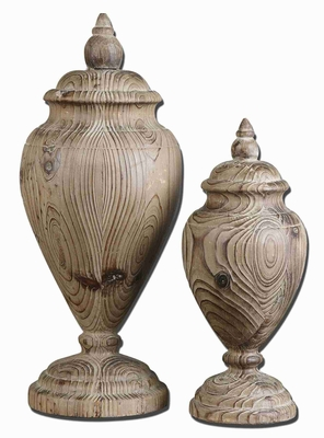 Brisco Style Wood Rooftop Finial Set With Hand Carved Wood Finish Brand Uttermost