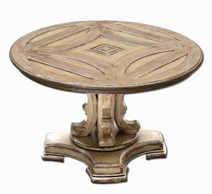 Bristan Round Coffee Table With Driftwood Stain Mango Wood Brand Uttermost