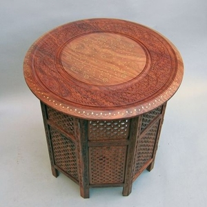 Bristol Octagonal Table, Traditionally Carved Alluring Creation Brand IOTC