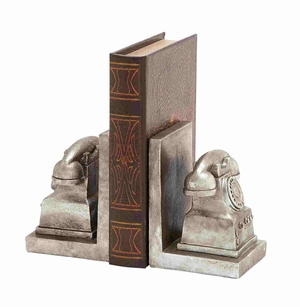 British Styled Silvery Phone Bookend Brand Benzara