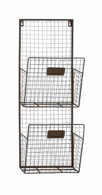 British Styled Two Tier Metal Wire Wall Pocket Brand Benzara