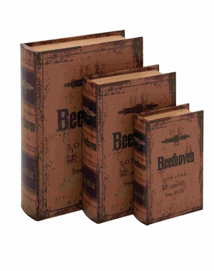 British Styled Wood Leather Book Box Set Brand Benzara