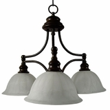 Broadleaf Collection Beautifully Styled Dark Brown 3 Lights Chandelier with Shade by Yosemite Home Decor