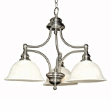 Broadleaf Collection Customary Styled Satin Nickel Finish 3 Lights Chandelier with Shade by Yosemite Home Decor