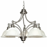 Broadleaf Collection Elegant White Satin Nickel 5 Lights Chandelier with Shade by Yosemite Home Decor