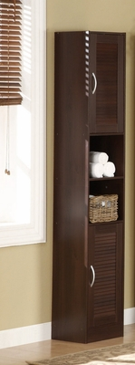 Brown Colored Six Sectioned Storage Tower with Metallic Handles by 4D Concepts