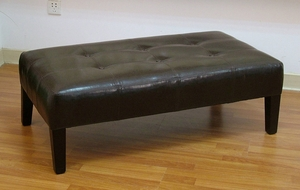 Brown Faux Leather Polished Coffee Table with Sturdy Legs by 4D Concepts