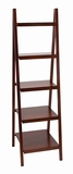 "Brown Leaning Ladder Dark Wall Bookcase Bookshelf 66"" Brand Woodland"