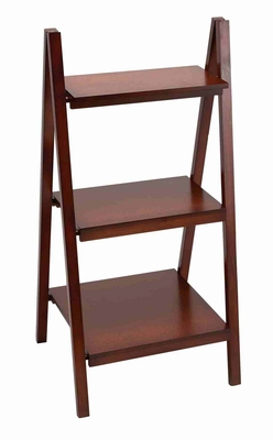 Brown Leaning Ladder Dark Wall Bookcase – Praised By Everyone Brand Woodland