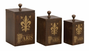 Brown Polished Attractive Paris Wood Metal Box by Woodland Import