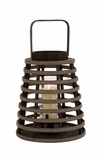 Brown Polished Attractive Wood Glass Lantern by Woodland Import