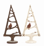 """Brown & White Polystone Tree w/ Bird Set of 2 Assorted 9""""W, 19""""H by Woodland Import"""