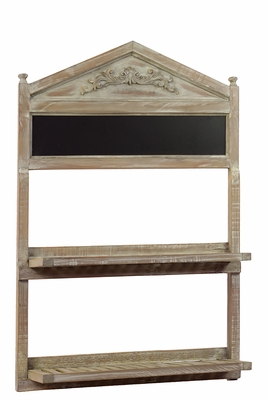 Brown with Washed Out Look Wooden Shelf with Blackboard by Urban Trends Collection