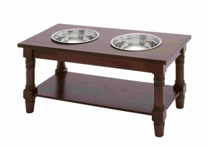 Brown Wood Pet Feeder with Stylish Steel Bowls Brand Benzara