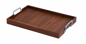 Brown Wooden Metal Tray in Versatile Style Brand Woodland
