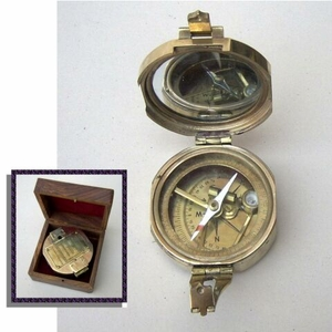 Brunton Compass Solid Brass  With Wood Box#BR4840 Brand IOTC