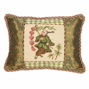 Bubbly Boy With Lantern Petit-Point Pillow by 123 Creations