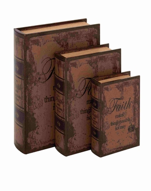 Set Of 3 Faded-Brown Leather Book Box - 59386 by Benzara