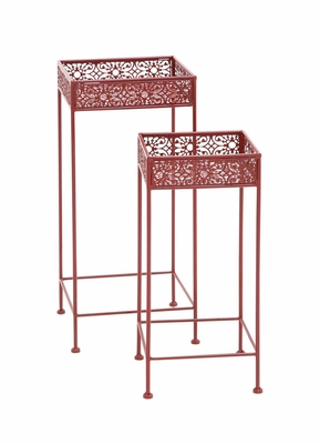 Buckingham Styled Metal Red Plant Stand by Woodland Import