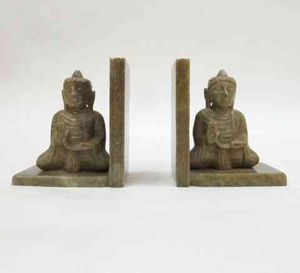 Buddha Bookends - Magnificent Antique Gautama Buddha Bookends Brand IOTC