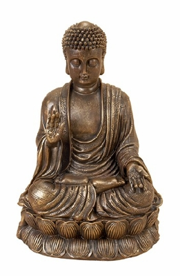 Buddha Meditating Peace Harmony Lotus Statue in Bronze Finish Brand Woodland