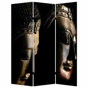 Buddha Screen, 3 Panel Canvas Screen, 48 Inch L X 72 Inch H Brand Screen Gems