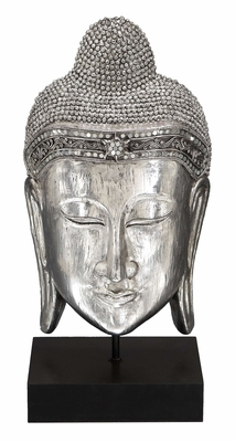 "Buddha Silver Head Statue Sculpture 19""Height"