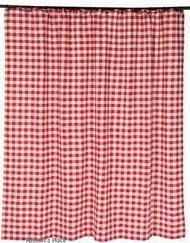 Buffalo Red Check Shower Curtain with Child Safety Warning Sticker Brand VHC