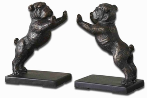 Bulldogs Style Cast Iron Book Ends With Distressed Golden Bronze Brand Uttermost