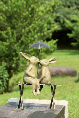 Bunny Lovers On Bench Reflects Different Garden Decor Theme Brand SPI-HOME