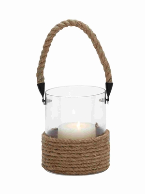 Burgos Dazzling Lantern With Rope Handle Brand Benzara