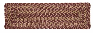 Burgundy And Tan Rectangle Braided Stair Treads Brand VHC