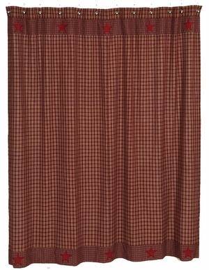 Burgundy Applique Star Shower Curtain � Going To Be In Fashion For Years Brand VHC