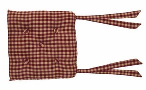 Burgundy Check Chair Pad Brand VHC
