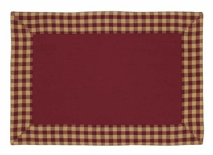 Burgundy Check Placemet Check And Solid Set Of 2 Brand VHC