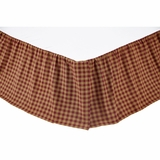Burgundy Check Queen Bed Skirt 60x80x16